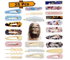 Clip di capelli di moda Set di 25PCS, perle perni di Bobby resina acrilica forcine per signore delle donne Barrettes Headwear Styling Tools Alligator Clips H