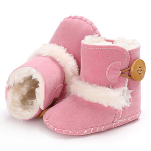 2020 Whole sale Winter 0-1 years old girl baby boot pink plus velvet warm non slip baby shoes 11 12 13 cm