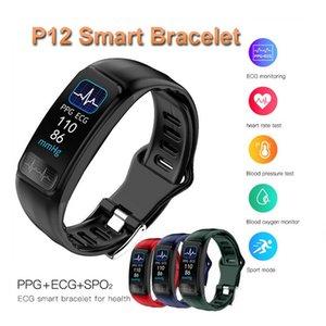 P12 Akıllı Bant İzle Spor Spor Tracker PPG EKG SPO2 Nabız Tansiyon Aleti USB Doğrudan Şarj Akıllı Bilezik
