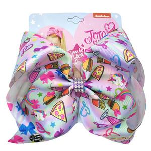 2019 INS Hot 8inch ragazze JOJO Siwa Grande archi dei capelli con le clip bambini grosgrain stampato Bowknot Barrettes dei bambini Grande Accessori per capelli JH10