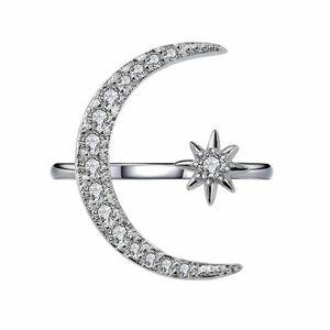 Cristal Moon Ring Diamond Loon Estrela Anéis Ajustável Engajamento Rins Moda Jóias Para As Mulheres Will e Sandy Dropship 080444