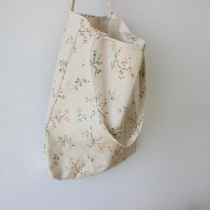reutilizáveis de grande capacidade roupa ocasional lona de algodão de um ombro sacola flor impressão praia de compras eco-friendly da Mulher