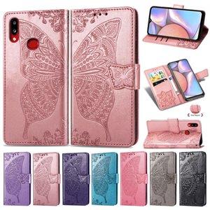 Para la caja A10 Samsung Galaxy con el titular de la tarjeta Monedero Teléfono pata de cabra clip magnético perforado patrón convexo flor de mariposa correa de mano (A10)