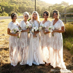 Bohemain Full Lace Long Bridesmaid Dresses 2020 Sheer Neck Illusion Sweep Train Country Style Maid Of Honor Dresses Cheap Wedding Guest Gown