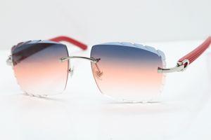 Kostenloser Versand Rimless Glasses Red Aztec SunGlasses Hot Metal Mix Arme 3524012 Sonnenbrille Unisex Randlos-Sonnenbrille mit Kasten Geschnitzte Objektiv