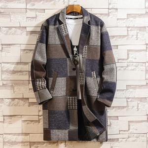 Fall Long Jacket Men Plaid Wolle Trenchcoat Herbst-Winter-Männer Overcoat Woll Pea Coat Mode Windjacke Veste Longue Homme
