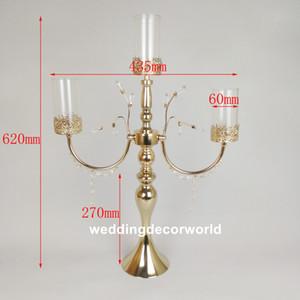 Yeni Stayle Gümüş Şamdan tall Temizle Cam Mumluk düğün dekorasyon decor0821 için