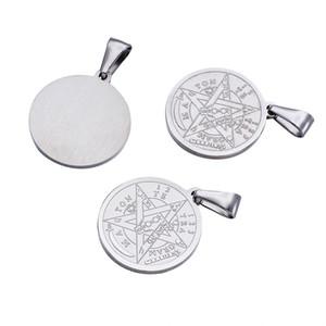 10 adet 27x24x2mm Din 304 Paslanmaz Çelik Düz Yuvarlak Oyma Tetragrammaton Pentagram Wiccan Kolye Kolye Takı Bulguları