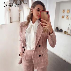 Abiti a buon mercato Pant Simplee plaid di modo delle donne abiti a maniche lunghe doppio pantaloni Giacca monopetto impostati signore ufficio rosa insiemi a due pezzi giacca sportiva
