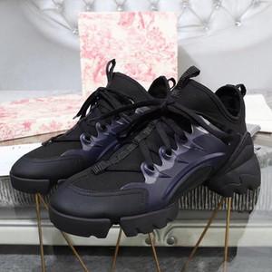 Mükemmel Resmi Kaliteli Lüks D-bağlamak Sneakers Kadın Paris Moda D Eğitmenler Bağlayın Hakiki Deri Pvc Dantel-up Ayakkabı 35-41 hw07