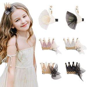 Fashion crown lace girls hair clips glisten swan bows girls barrettes fashion baby BB clips designer baby girl hair accessories B1266