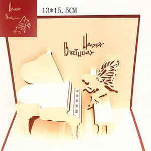 1pcs Piano Fairy Happy Birthday Laser Cut 3D Pop Up Greeting Card With Envelope Post Invitation For Party Decor