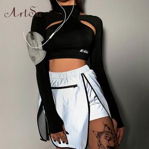 ArtSu 하라주쿠 셔츠 블랙 티셔츠 거북 목 여성 긴 소매 T 셔츠 섹시한 중공 아웃 반사는 스트리트 ASTS21136 T200525 탑