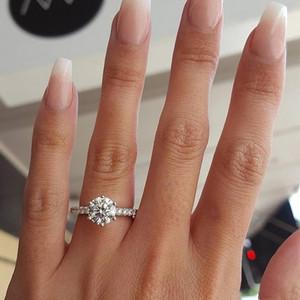 Белое золото: Война в раю Цирконий камень код Single Алмазный палец мужчины и женщины фонд Classic Six лапка Single Циркон кольцо