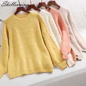 Shellsuning Tire patrón Femme 2019 Winter Wave otoño de punto suéter de cachemira de las mujeres de la manga de la linterna Soft Espesar con capucha