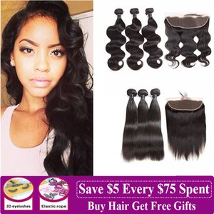 8A Malaysian Human Hair Weaves With Frontal Closure Straight Body Deep Water Wave Loose Deep Brazilian Virgin Hair Bundles With Frontal