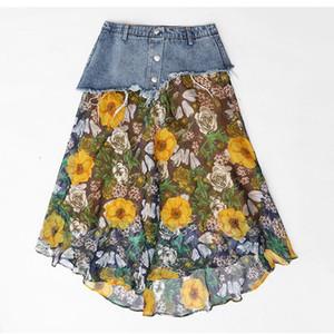 Stinlicher Verão Mulheres Flor Imprimir Chiffon Denim Saia Das Senhoras Longo Retro Costura Praia Saia Moda Denim Cinto