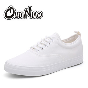 OUDINIAO Shoes Canvas Lace Up Men Casual Shoes 2018 Plimsolls respirável Masculino calçado Primavera Sneakers Black White