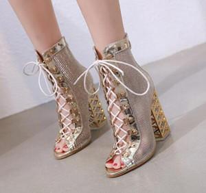 Nova Sandália de Verão Sexy Bling Dourado Gladiador Sandálias Mulheres Bombas Sapatos Lace-Up Sandálias de Salto Alto Botas de Ouro