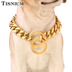Dog Chain Necklace Pet Supplies Cuban-Style Chain Link Double Round Flat Lock Polish Both Sides The Stainless Steel 15mm