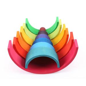 12Pcs деревянные радужные блоки деревянные строительные блоки для Kid Радуга Строительные блоки Монтессори учебного деревянная игрушка Y200111