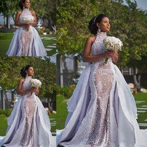 Plus Szie Afrikanische Brautkleider mit abnehmbarer Zug 2019 Modest High Neck Puffy Rock Sima Brew Country Garten Royal Wedding Kleid