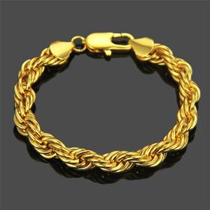 Personalità di Hip-hop stile esagerato Twist Bracciale Via uomo ruvido oro e argento di modo del braccialetto Prepotente freddo