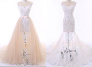 Скромная африканская съемная юбка шампанского свадебные платья 2021 прозрачная шея белая аппликация кружева дешевые свадебные платья свадебные платья дешево