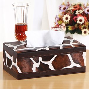 European rectangle tissue cover box wood+PU leather tissues box paper napkin holder storage for home decoration PZJH041B
