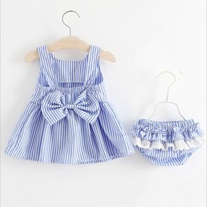 0-4 Years Baby Kids Girls Clothing Outfits Sets 2pcs Bowknot Striped Sleeveless Dress+Underwear 2018 New Summer Princess Dress Z