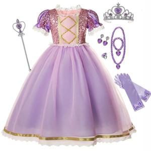 Dantel Jant Tangled Rapunzel Kostüm Kızlar payetli En Kısa Kollu 2-10Y Çocuklar Noel Partisi Balo Cadılar Bayramı Prenses Giydirme
