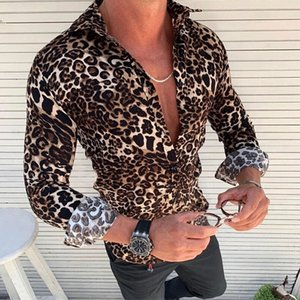 Mens New Fashion Long Sleeve Shirt Leopard Printed Casual Long Sleeve Slim Fit Male Shirts Tops