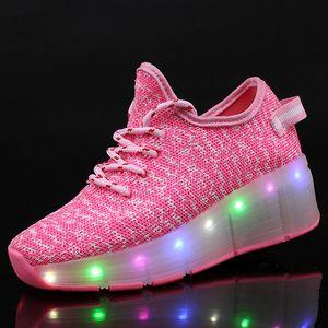 USB شحن الأطفال الرول سكيت أحذية عارضة بنين فتاة التلقائي جازي LED مضاء اللمعان الاطفال متوهجة أحذية رياضية مع عجلات