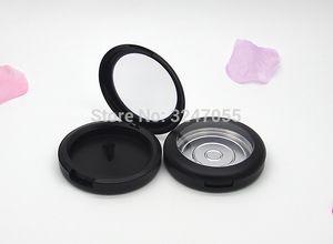 59 milímetros Matte Black plástico vazio Cosmetic Blush Compacto, maquiagem preta fosco redonda Sombra Container, Lipstick Case