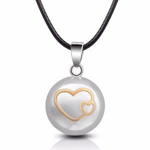Eudora bola de grossesse-Kugel-Halskette Doppel-Herz-Anhänger Musical Sounds Harmony Bola hängende Halskette für Schwangere Geschenk