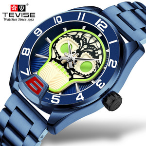 Tevise Relógios Mecânicos Stainless Steel Homens Automatic Assista Moda Luxo Cool Blue Skull Clock Relógio Masculino