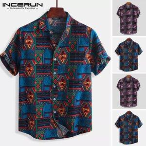 INCERUN Breathable Cotton Men Shirt Ethnic Style Print Vintage Short Sleeve Streetwear Tops Loose Men Beach Hawaiian Shirts 2020 MX200518