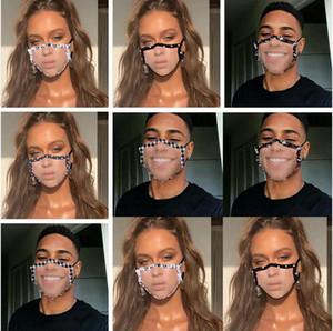Máscaras Limpar janela visível Boca Máscara Lip Idioma Dustproof Mask Fashion Designer adulto Lace Floral Visible cobrir a boca LSK633