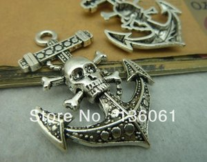 Encantos de espessura Crânio Anchor Pingentes Atacado Moda Silvers vintage para colar pulseira jóias fazendo 33x50mm Amizade presente