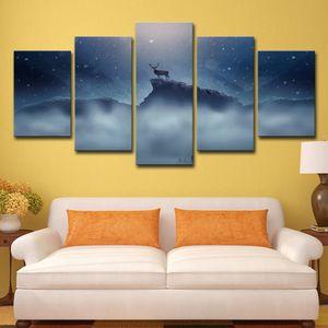 HD Impreso 5 unidades Canvas Art Stag Large 5 Panel Canvas Art Modern Wall Pictures para sala de estar envío gratis