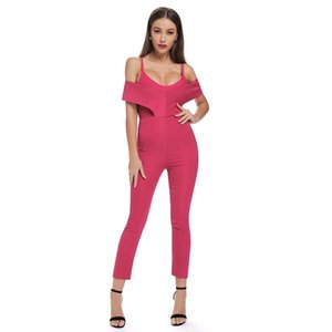 2019 New Spring Jumpsuit Women Sexy Deep Pink Spaghetti Strap Bodysuit Calf Length Pants Chic Celebrity Party Jumpsuits Women's Jumpsuits &