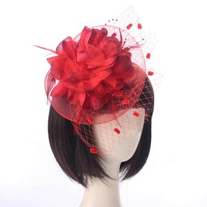Red Feather Hat Elegant Lady Cap Mesh Hat Flower Cocktail Tea Party Fascinators Top Hats for Girls and Women Party Supplies