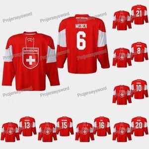 Switzerland Yannick Weber 2019 IIHF World Championship Jersey Vincent Praplan Nico Hischier Raphael Diaz Reto Berra Kevin Fiala Lukas Frick