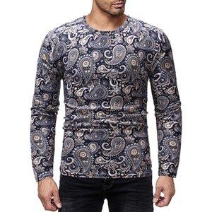 Yaprakları Erkek Tasarımcı Uzun Kollu tişörtleri Moda İnce Sonbahar Mürettebat Boyun Mens Tees Casual Erkek Giyim yazdır