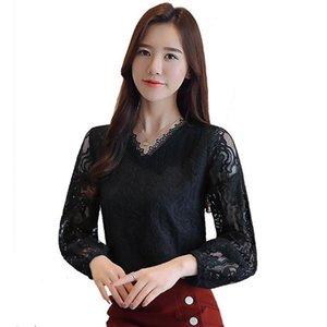 Pop2019 Desconto E Camisa Rendas Oco das mulheres Manga Comprida Top Korean Dishy Chiffon Blusa Lanterna Mangas Plus Size