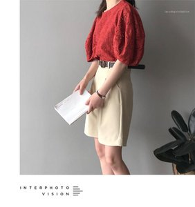 Lockere Famale Top Frauen Literary Puff Sleeve Shirt Fashion Solid Color-Rundhalsausschnitt Puppe Hemd