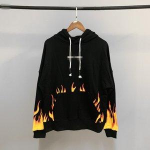 Палм красоты прилив хлопок балахон Angel, пламя для печати с капюшоном мужчин и женщин свитер хип-хоп волна (черный и белый)