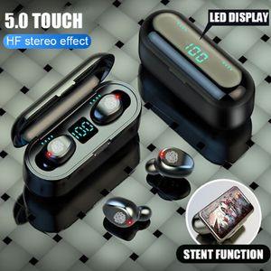 Kablosuz Kulaklık Bluetooth V5.0 F9 TWS Kablosuz Bluetooth Kulaklık Mikrofon ile 2000 mAh Güç Bankası Kulaklık ile LED Ekran