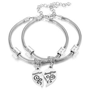 Madre figlia amore braccialetto braccialetto regalo festa della mamma 2 pz / set madre figlia braccialetto gioielli famiglia amore cuore amuleti braccialetto braccialetto