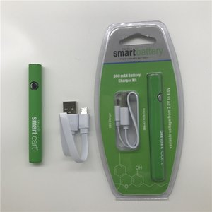 SmartCart Preheat Battery Blister Kit 380mAh VV Variable Voltaje 510 Batería con cargador USB para cartucho de carro inteligente de cera de aceite grueso